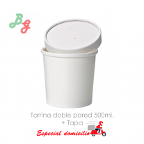 Tarrina Bom Gelatti Blanca doble pared 500ml  (25 Uds + 25 Tapas)