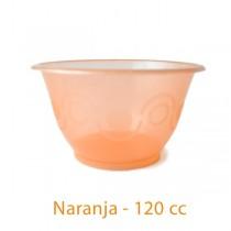 Tarrina de plástico para helado de 120cc color naranja